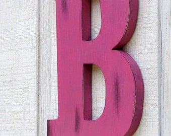 "Large Wooden letter B Home Decor Distressed In Hot PINK,12"" tall Wood Name Letters, Baby Nursery Decor Custom Handmade"