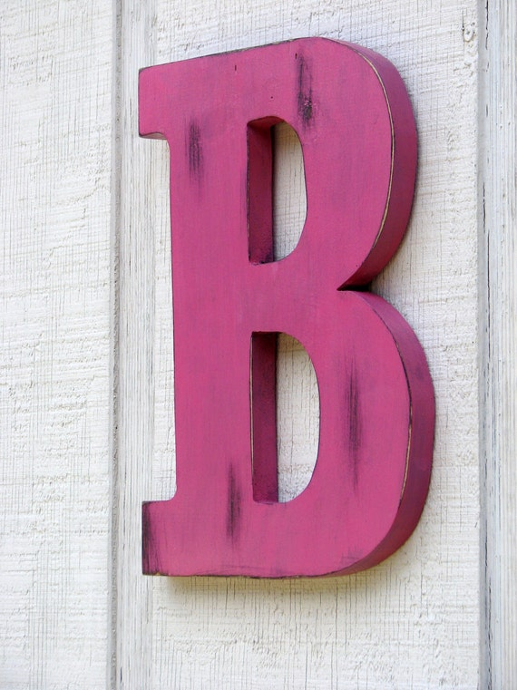 large wooden letters home decor rustic letter b baby room decor distressed painted hot pink
