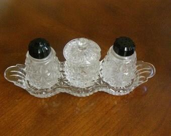 Vintage Cut Glass Salt, Pepper, Condiment Jar, display dish.