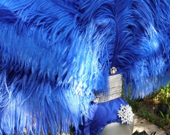 Showgirl Blue Feather Headdress Royal Blue, Vegas, Circus, Costume, Burlesque, Pride, Party Drag queen