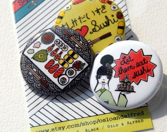 Sophisticated Sushi Button Set - Illustrated by Taren S. Black