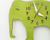 "The ""Big Lime Green Elephant"" Kid's wall mounted clock from LeLuni"