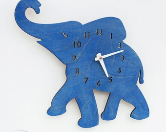 "The ""Baby Elephant in Blue"" designer wall mounted clock from LeLuni"
