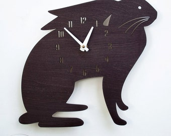 "The ""Pappa Black Hare"" designer wall mounted clock from LeLuni"