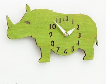 "The ""Rotund Rhino in Lime Green"" Kid's wall mounted clock from LeLuni"