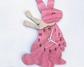 "The ""Blushing Baby Bunny"" designer wall mounted clock from LeLuni"