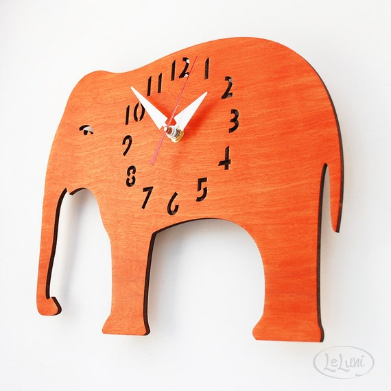 "The ""Oh, My Orange Elephant"" Kid's wall mounted clock from LeLuni"
