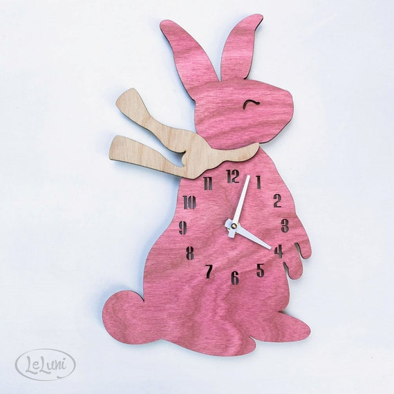 """The """"Blushing Baby Bunny"""" designer wall mounted clock from LeLuni"""
