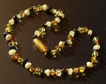 Multicolor baltic amber baby teething necklace