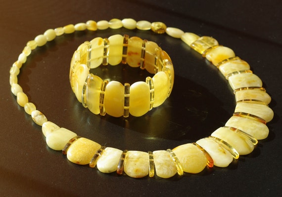 Set Of Royal Baltic Amber Necklace and Bracelet with Honey Amber Spacers 710