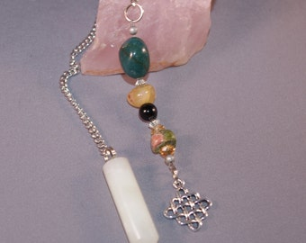 Dowsing Pendulum Divination Gemstone Jade Celtic Knot New Age Metaphysical Pagan Witchy Wicca 124973P