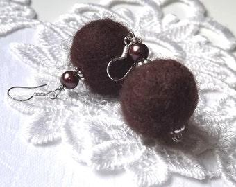 Felt Earrings Felt Jewelry Felt Ball Earrings BOHO Eco Friendly Chocolate Brown Dangle Earrings Wool Felt Felted Earrings