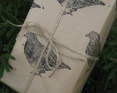 Partridge Game Bird Hand Printed Gift Wrap - Three Sheets