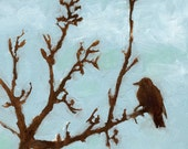 On SALE now, 60% Off- Bird Silhouette- Bright Baby Blue Skies- Burnt Umber Sienna Brown- Original Oil Painting on Wood- Tree Branches