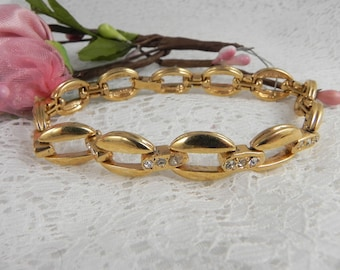 Vintage Rhinestone Chain Link Bracelet