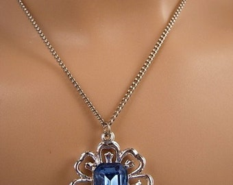 Vintage Blue Emerald Cut Rhinestone Pendant and Chain