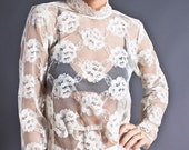 SALE 50% OFF 80s Vintage Lace Blouse in Ivory