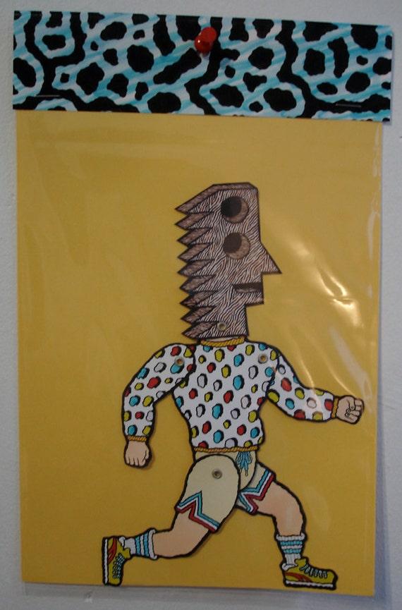SALE / Matt Leines / Paper Doll No. 0006 / Hand Colored / No Two Alike /  Unique