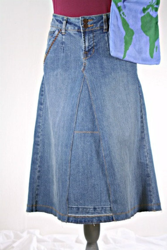 Upcycled Denim Skirt, Made from Size 5/6 Pair of Jeans
