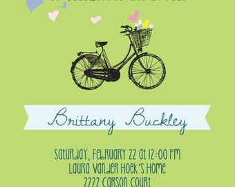 Bridal Shower Invitation: DIY-Printable. Customizable. Hip Bicycle. Basketful of LOVE.