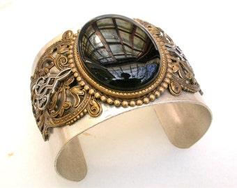 Large Black Onyx Silver Cuff Bracelet - Women Gothic Jewelry