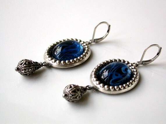 Ocean Mystery - Victorian Silver Earrings with Blue Glass Jewelry Stone