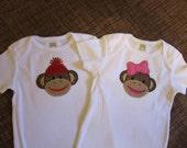 brother/sister set sock monkey bodysuits