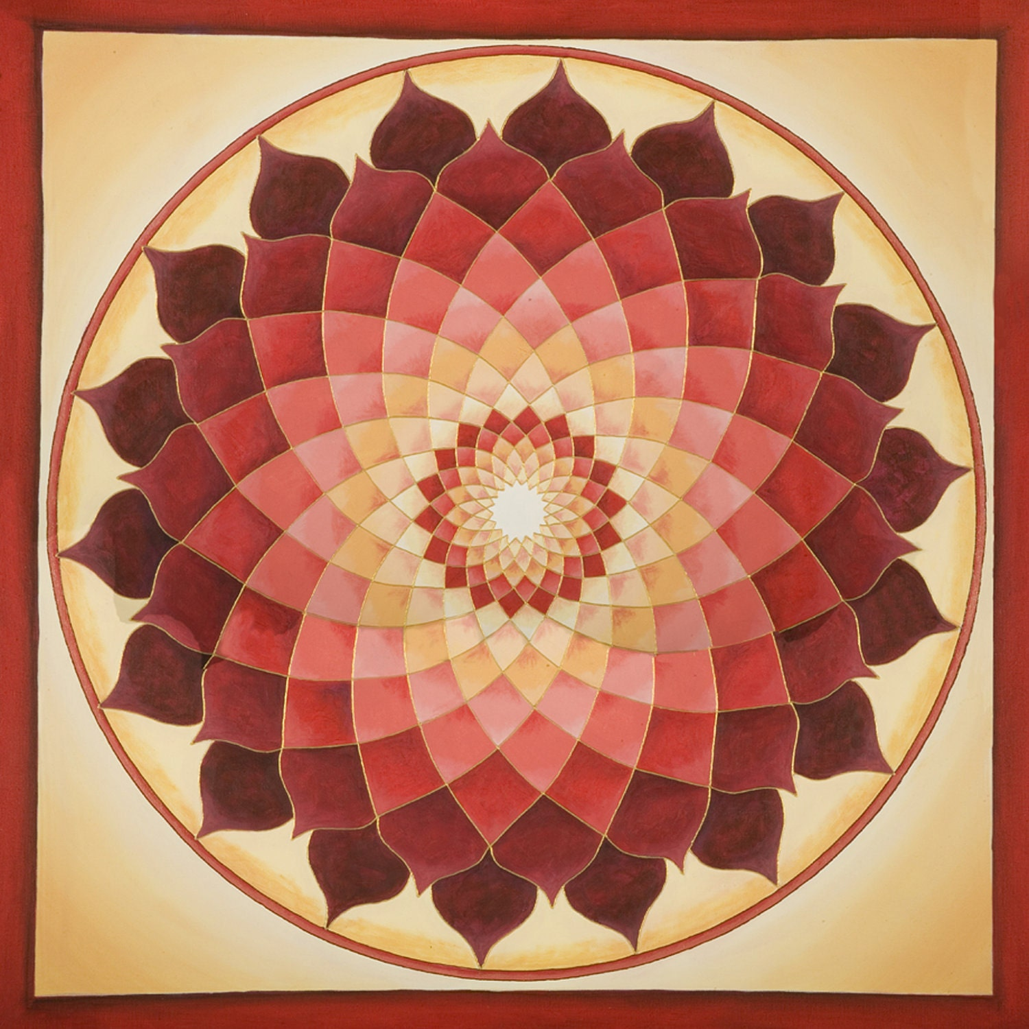 Flower of life mandala original acrylic on by mandalavisions for Mural mandala