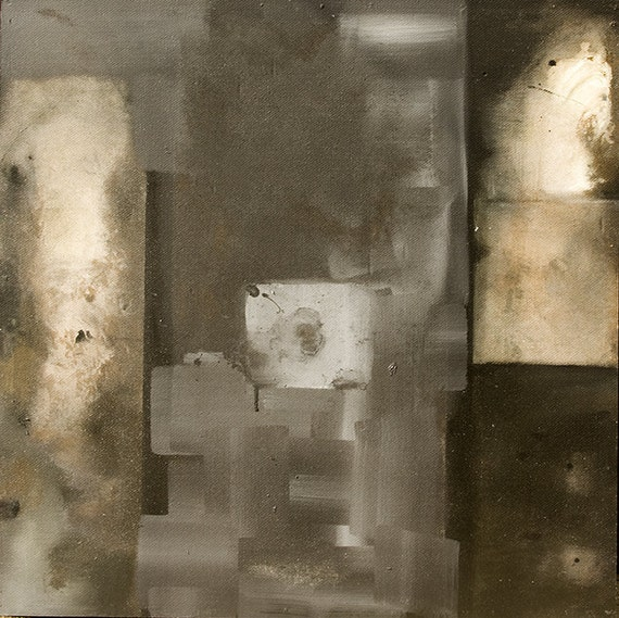 LARGE ABSTRACT PAINTING black white (Concepts Influenced by Mid Century and 19th Century Artists) RGCIV2010No.2 Distilled Reality
