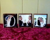 Personalized Wood Photo Blocks - DAD or MOM - Set of 3 - Wedding Gift - Father/Mother of the Bride