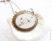 SALE - Cat and bird - vintage necklace