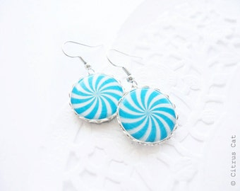 SALE - Blue and white candy earrings