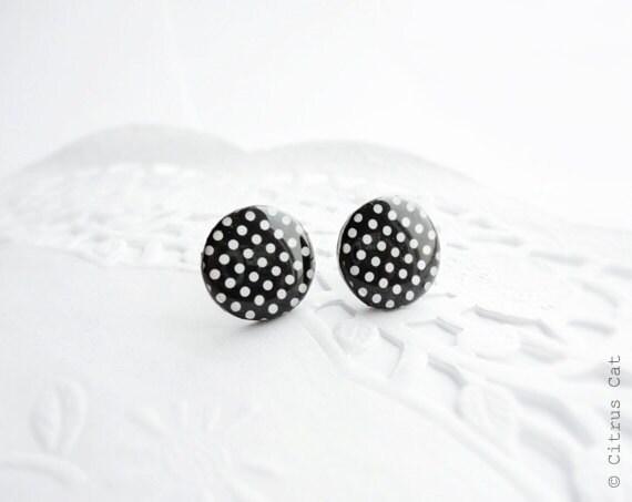 SALE - Black and white polka dots stud earrings