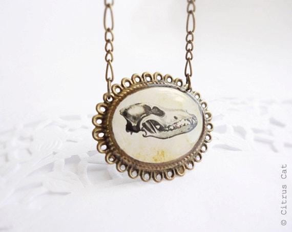 SALE - Wolf skull vintage necklace