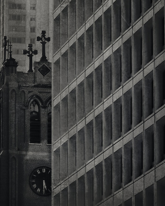 Prayer for Today - Black and White Wall Decor, Gothic Abstract Architecture, City Street Photo, Vintage Inspired, Church