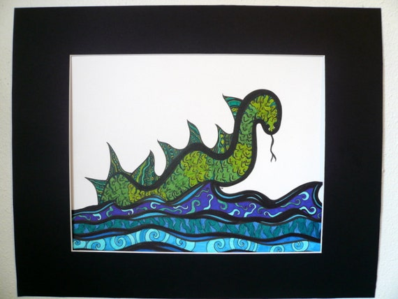 """Original pen and ink drawing, """"Sea Serpent"""" abstract art, green and blue, sea monster drawing"""