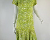 RESERVED - 60s Does 20s Drop Waist Day Dress in Lime Green Print - sm, med TREASURY ITEM