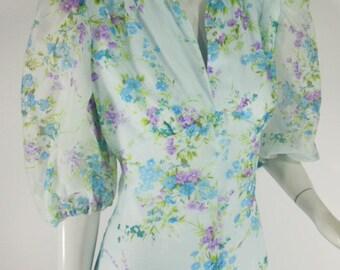 60s or 70s Light Blue Floral Maxi Dress - med