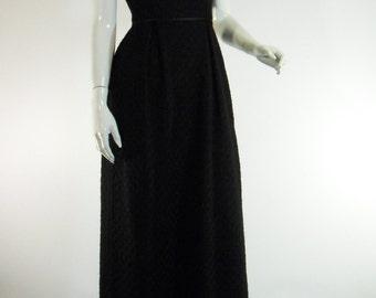 50s 60s Black Sleeveless Sheath Dress. Boucle Gown - xs, small, petite