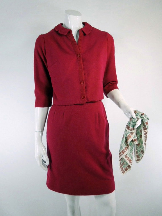 50s/60s Cranberry Wool Skirt Suit - sm, med TREASURY ITEM