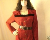 A British summer Houndstooth Velvet Trim Vintage Red check wool like Dress by Jane Devine (Au/UK sz 12/14 or 8/10 US sz) s,m,L