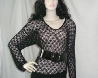 Bogan chic Vintage Black Crochet Stretch Tunic Top (sz Au /UK sz 10/12) s,m,L