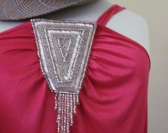 Deco dreamin Silver Glass Bead Pink Silky Stretch Top blouse tank small,medium,large