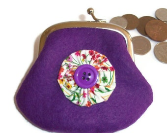 Felt Coin Purse - purple - spring meadow lining- UK Seller