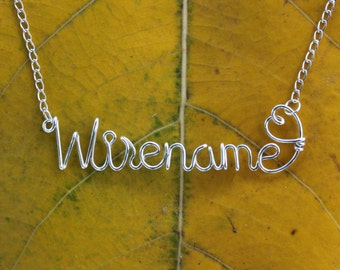 Wire Name Necklace With Heart - Custom Handmade Up To 10 Letters