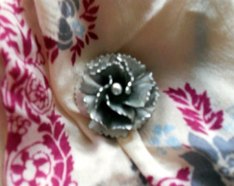 Vintage 1950's Stylized Rose Flower Brooch Metal Pin Blossom