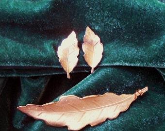 Vintage 1950's Leaf Brooch & Earrings Set Pegasus Coro Signed
