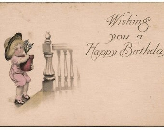 Ca 1916 Victorian Birthday Greeting Postcard w/ Little Girl - 142