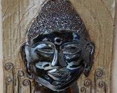 Raku Buddha Tile (ceramic. pottery, terracotta, art, gift)