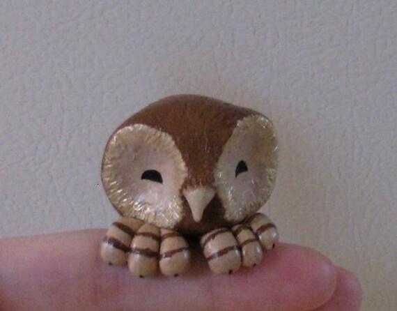 Brown Owl Creachling percher-- polymer clay figure, figurine, miniature bird